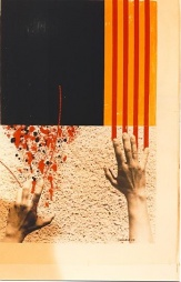 My hands painting the flag of Catalonia